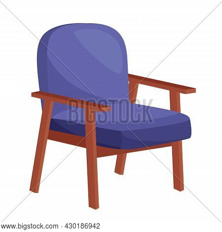 Cozy Blue Armchair On White Background, Vector Illustration