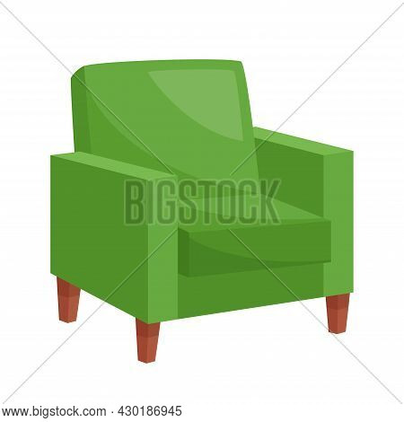 Cozy Green Armchair On White Background, Vector Illustration