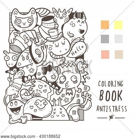 Coloring Book Antistress With Funny Cute Cartoon Monsters. Doodle Print With Joyful Animals. Line Ar