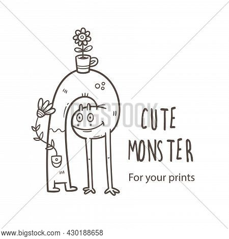 Vector Card With Cute Cartoon Monster. Funny Animal And Flowers. Doodle Line Art Creature Print. Chi