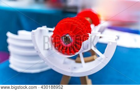 3d printed jet engine scale model. High bypass aircraft turbofan plastic replica.