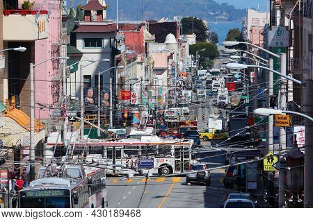 San Francisco, Usa - April 8, 2014: People Visit Chinatown In San Francisco, Usa. San Francisco Chin