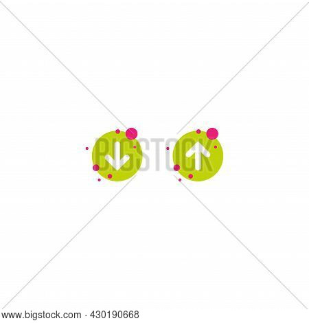 White Rounded Up And Down Arrows In Green Circles. Flat Icon Isolated On White. Point Down Button. S