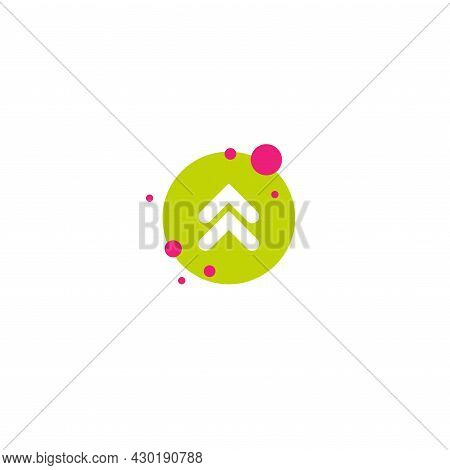 White Arrows Up In Green Circle With Bubbles Icon. Swipe Up Button. Isolated On White. Upload, Scrol