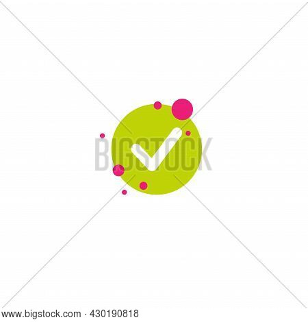 Valid Seal Icon. Green Tick. Flat Ok Sticker Icon. Isolated On White. Accept Button. Good For Web An