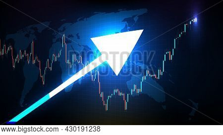 Abstract Futuristic Technology Background Of Stock Market And Candle Stick Bar Chart Graph Green And