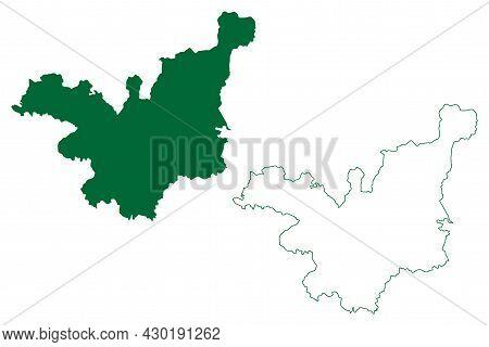 Tehri Garhwal District (uttarakhand Or Uttaranchal State, Republic Of India) Map Vector Illustration