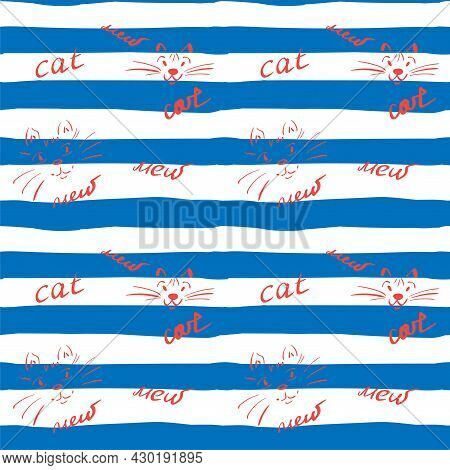 Funny Endless Pattern With Hand-drawn Cat Faces And Meow Lettering. White And Blue Stripes. Tile For
