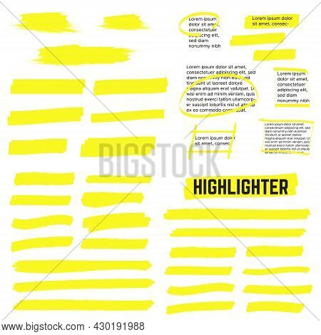 Highlight Marker Lines. Highlight Strokes Vector. Marker Pen Highlight