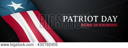 Dark Horizontal Banner For Patriot Day. 9/11 National Day Of Remembrance. United States Flag. Patrio