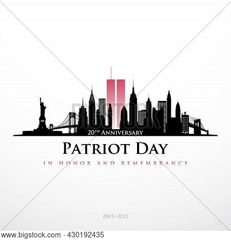 Patriot Day Nyc Skyline Banner. Panorama View Of New York Before September 11, 2001. In Honor And Re