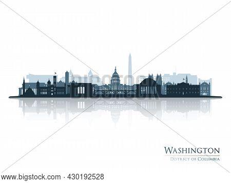 Washington Skyline Silhouette With Reflection. Landscape Washington Dc. Vector Illustration.