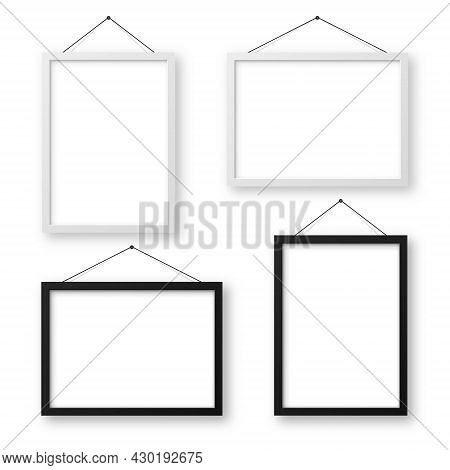 Realistic Black And White Picture Frames With Shadow. Hanging On A Wall Blank Poster Mockup. Empty P