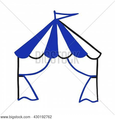 Blue Tent, Awning, Stall, Folding Tent, Pavilion For Trade, Outdoor Events. Watercolor Illustration.