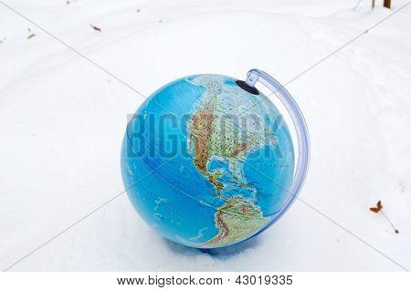 Earth Globe Sphere Winter Snow Snowbank Concept