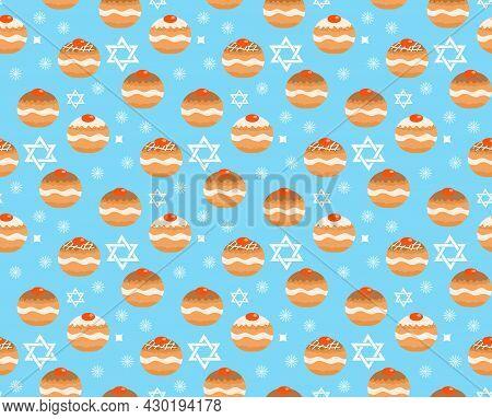 Sufganiyot Seamless Pattern. Jewish Donut Seamless Texture, Traditional Dessert On The Holiday Of Ha