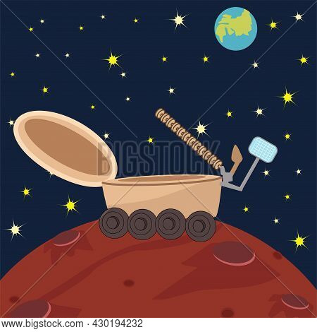 Vector Space Flat With Spaceship, Planet And Stars. Surface Of The Planet With Craters