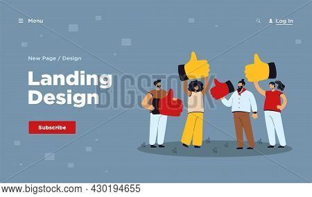 Cartoon Metaphor Of Customer Review, Quality Feedback. Flat Vector Illustration. Tiny Clients With G
