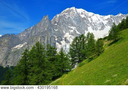 View on Mont Blanc ( Monte Bianco ) mountain range in sunny day. Aosta valley, Italy.