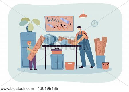 Dad Teaching His Son Carpentry. Flat Vector Illustration. Cartoon Man And Boy Sawing Wooden Planks I