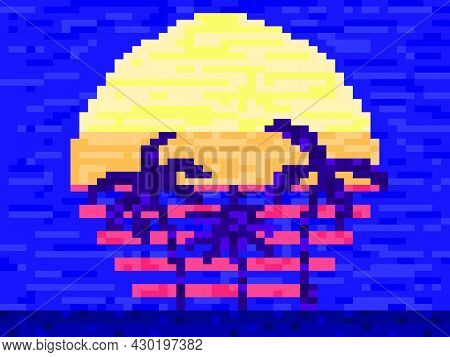Pixel Art Palm Trees At Sunset In 80s Style. 8-bit Sun Synthwave And Retrowave. Retro 8-bit Video Ga