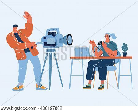 Vector Illustration Of Blogger Startup, Camera Video Blog. Operator And Containmaker.