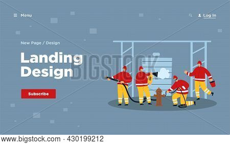 Fireman Team Fighting Fire, Rescuing People And Buildings. Flat Vector Illustration. Team Using Prof