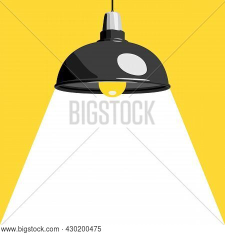 Hanging Lamp Or Ceiling Lamp And Downward Beam Of Light, Vector Illustration. Home Or Office Interio