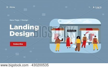 Happy Consumers Choosing Clothes In Shop Or Boutique Flat Vector Illustration. Cartoon Characters Wa