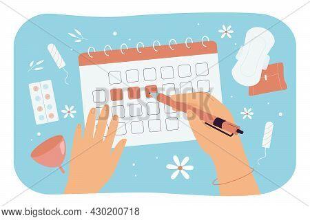 Women Hands Marking Menstrual Days On Calendar. Flat Vector Illustration. Panty Liners, Menstrual Cu