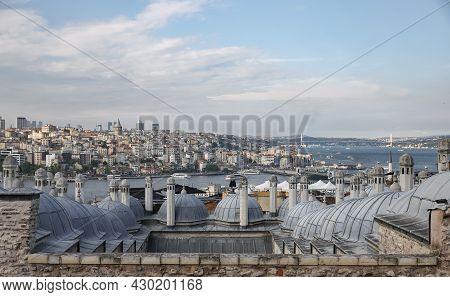 Suleymaniye Bath Roofs And Bosphorus Strait In Istanbul City, Turkey