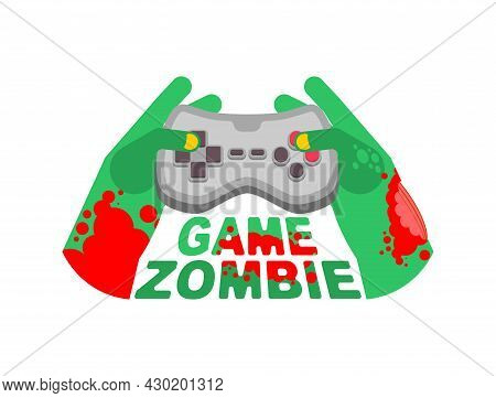 Zombie Game. Zombie Plays On A Gamepad. Zombie Hands And Joystick