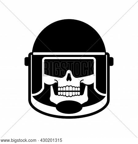 Skull In Police Protect Mask. Skeleton Riot Police. Punitive Intimidating Power