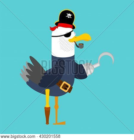 Seagull Pirate Isolated. Gull In Pirate Clothes. Vector Illustration For Holiday International Talk