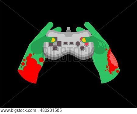 Zombie Plays On Gamepad. Zombie Hands And Joystick