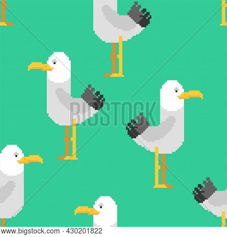 Gull Pixel Art Pattern Seamless. Seagull 8 Bit Background. Sea Bird Pixelated Texture