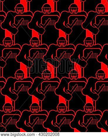 Skeleton Riot Police Pattern Seamless. Skull In Police Protect Mask Background. Punitive Intimidatin