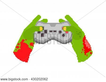 Zombie Hands And Joystick Pixel Art. 8 Bit Zombie Plays On Gamepad.