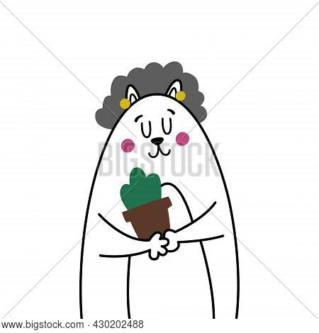 Cute Comic Grandmother Cat. Old Gray-haired Granny Smiles And Holds A Pot With A Houseplant. Illustr