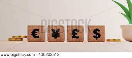 Main Global Currency Print Screen On Wooden Cube Block Such As Dollar Yen Euro Pound With Golden Coi