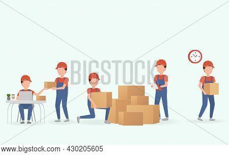 The Delivery Staff Prepares The Shipment For The Customer. The Important Of Transportation Must Be P
