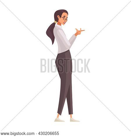 Law Justice Composition With Doodle Female Character Of Attorney Vector Illustration