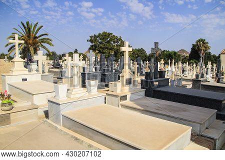 La Union, Cartagena, Murcia, Spain- July 21, 2021: Beautiful Virgen Del Remedio Cemetery In La Union