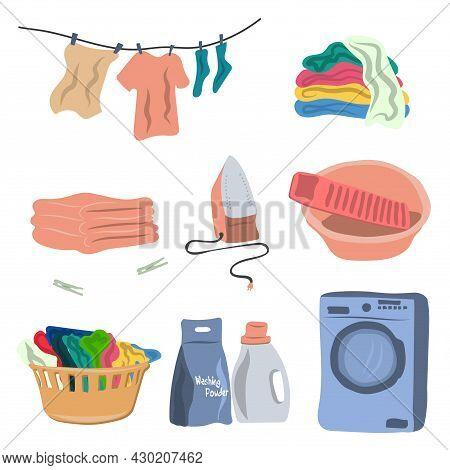 Washing And Ironing Service Tools Set - Washing Machine, Powder, Basin, Laundry Basket, Iron. Househ