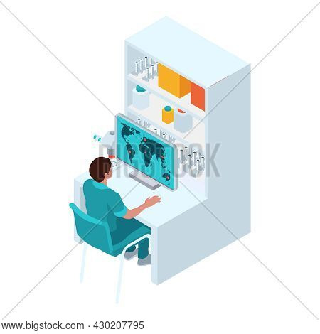 Isometric Infectious Disease Doctor Scientist Virologist Composition With Worker Checking World Map