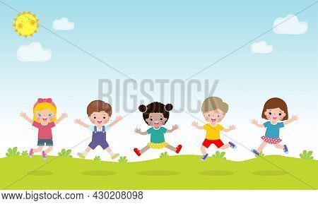 Happy Children Jumping And Dancing Together On The Park, Kids Activities, Children Playing In Playgr