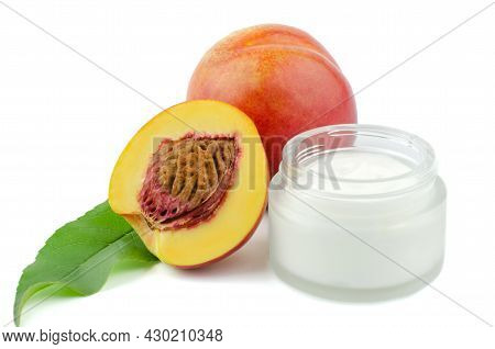 Open Jar With Body Cream And Fresh Peaches On A White Background. Natural Cosmetics For Body Care