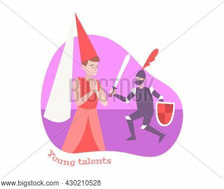Kid Success Flat Composition With Young Actors Performing In Medieval Theatrical Performance Vector