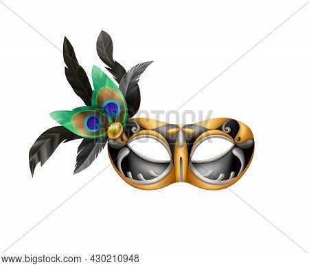 Realistic Carvinal Mask Composition With Isolated Image Of Masquerade Mask With Peacock Feathers Vec