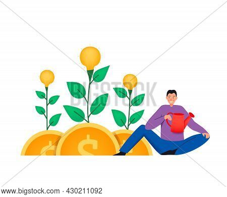 Crowdfunding Composition With Flat Icons Of Plants Growing On Coins And Man With Watering Pot Vector
